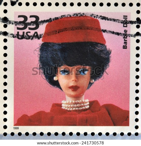 UNITED STATES OF AMERICA - CIRCA 1999: Stamp printed in USA dedicated to celebrate the century 1960s, shows barbie doll, circa 1999 - stock photo