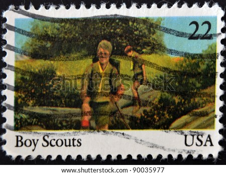 UNITED STATES OF AMERICA - CIRCA 2000: stamp printed in USA show Boy Scouts, circa 2000 - stock photo