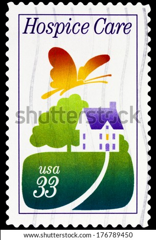 UNITED STATES OF AMERICA - CIRCA 2014: stamp printed in USA showing Hospice care, USA 33c, circa 2014 - stock photo