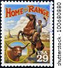 UNITED STATES OF AMERICA - CIRCA 1994: Stamp printed in USA shows Home on the Range culture in the American Old West, circa 1994 - stock photo