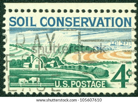 UNITED STATES OF AMERICA - CIRCA 1959: stamp printed in USA, shows Soil Conservation, farm, circa 1959 - stock photo