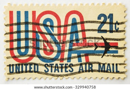 UNITED STATES OF AMERICA - CIRCA 1980 : Stamp printed in USA shows Symbols of American airmail, circa 1980. - stock photo