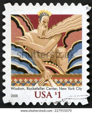 UNITED STATES OF AMERICA - CIRCA 2008: stamp printed in USA (US) shows wisdom iconic figure (37 foot art deco giant); Rockefeller center in Manhattan NY; American design; Scott 3766 $1, circa 2008 - stock photo