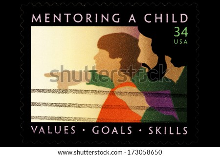 UNITED STATES OF AMERICA - CIRCA 2014: stamps printed in USA shows Mentoring A Child USA 32c, circa 2014 - stock photo