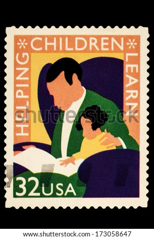 UNITED STATES OF AMERICA - CIRCA 2014: stamps printed in USA shows the image of Helping Children Learn, USA 32c, circa 2014