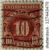 "UNITED STATES OF AMERICA - CIRCA 1930: Ten cent postage due stamp printed in the United States shows ""10 cents"", circa 1930 - stock photo"