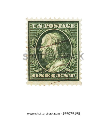 UNITED STATES OF AMERICA - CIRCA 1922: Vintage postage stamp 1 cents shows Benjamin Franklin (1706-1790) 6th president of Pennsylvania, founding father, Scott 552 A155 1c green, circa 1922 - stock photo