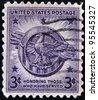 UNITED STATES OF AMERICA - CIRCA 1946: Vintage postage stamp published in the USA commemorating soldiers in WWII with text 'Honoring Those Who Have Served' , circa 1946 - stock photo