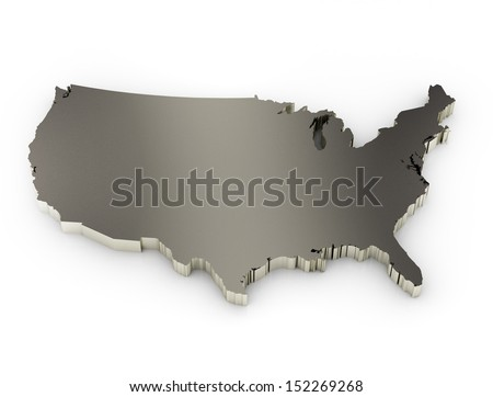 united states of america 3d metal map - stock photo