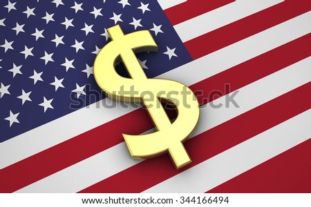 United States Of America economy concept with US flag and golden money dollar currency symbol. - stock photo