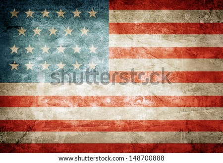United States of America flag on grunge paper - stock photo