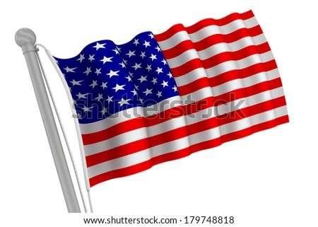 United States of America flag on pole waving in the wind