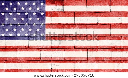 United states of america flag painted on brick wall texture