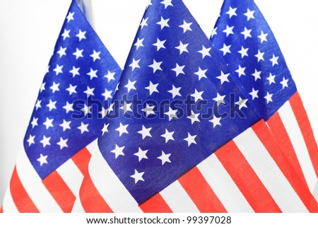 United States of America flags queue - stock photo