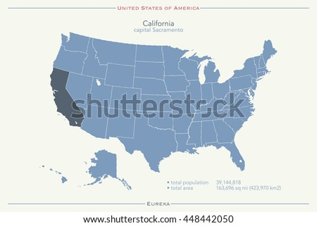 United States of America isolated map and California state territory. USA political map illustration. geographic banner template - stock photo