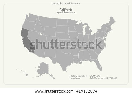 United States of America isolated map and California state territory. USA political map. geographic banner template - stock photo