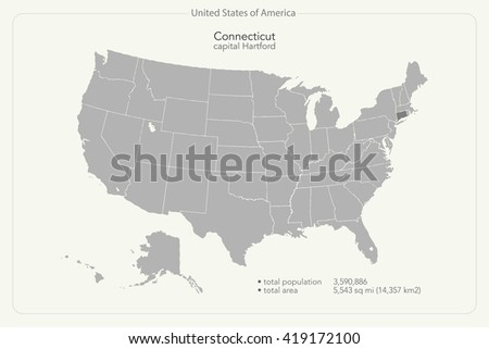 United States Of America Isolated Map And Connecticut State Territory Usa Political Map Geographic