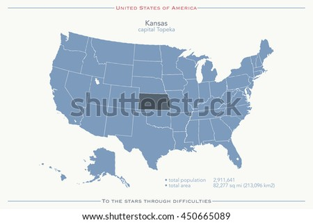 United States Of America Isolated Map And Kansas State Territory. USA  Political Map Wallpaper.