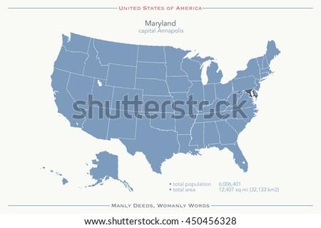 United States America Isolated Map Maine Stock Illustration - Us map maryland state