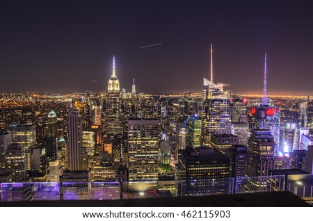 UNITED STATES OF AMERICA - JUNE 2016: Architectural buildings at lower Manhattan skyline at night in New York City - United States of America.