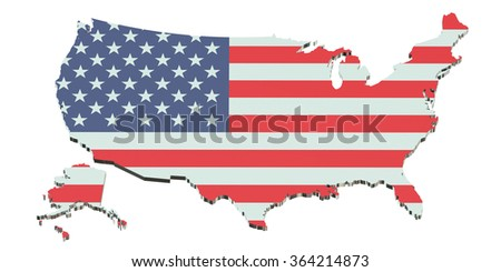 United States of America map isolated on white background