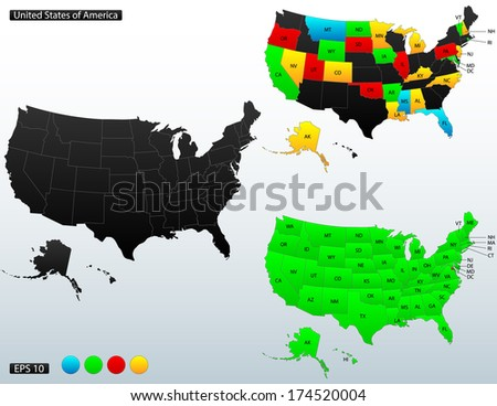 United States of America map, with internal boundaries and state names initials included, raster copy - stock photo