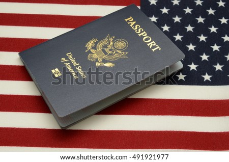 United states of america passport on us flag background