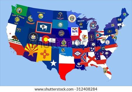 Usa State Flags On D Map Stock Illustration Shutterstock - Us map flag