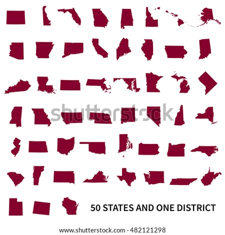 United States of America 50 states and 1 federal district. Set of US states maps.
