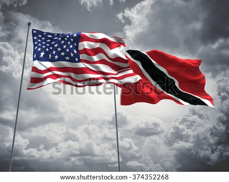 United States of America & Trinidad and Tobago Flags are waving in the sky with dark clouds