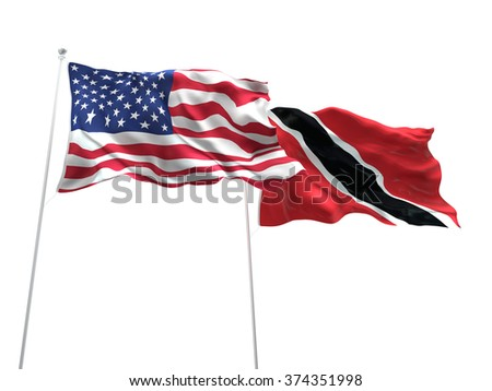 United States of America & Trinidad and Tobago Flags are waving on the isolated white background