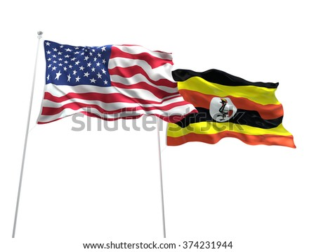 United States of America & Uganda Flags are waving on the isolated white background - stock photo