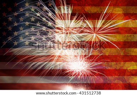 United States of America USA Flag with Fireworks Grunge Texture Background for 4th of July Independence Day - stock photo