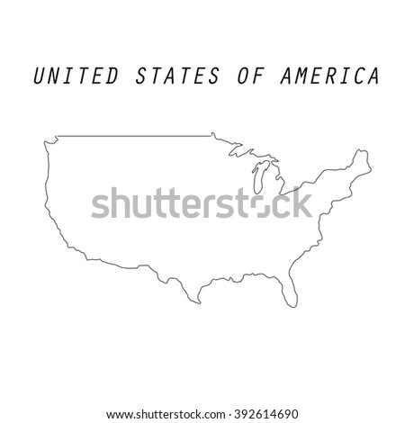 Vector Map United States Outline Map Stock Vector - Usa map outline with states