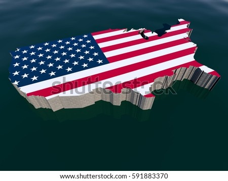 united states of america usa us isometric perspective aerial map view of national flag border wall