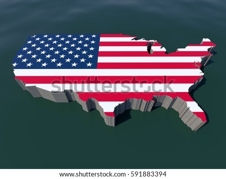 United States Of America Usa Us Isometric Perspective Front Aerial Map View Of National Flag Border