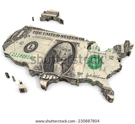 United States of Dollars: An illustration related to the view that wealth and consumer driven economics are at the heart of the United States. - stock photo