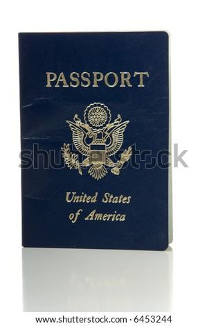United States or American government issued passport on white background