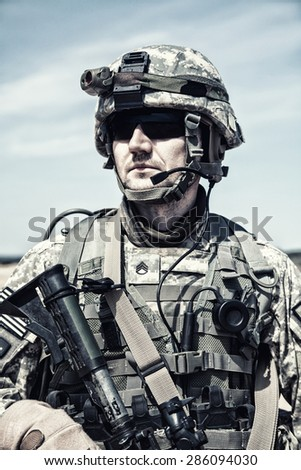United States paratrooper airborne infantry in uniform