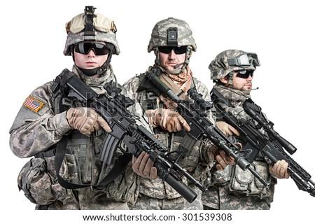United States paratroopers airborne infantry studio shot on white background - stock photo