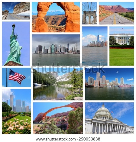United States photo collage. Collage includes major landmarks like New York City, Washington DC, Chicago, Boston, Rocky Mountains and Utah. - stock photo