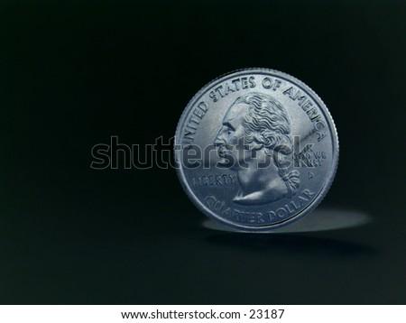 United States quarter taken in negative style - stock photo