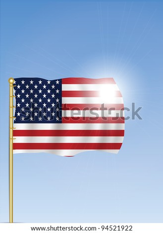 United States Royal Flag waving in The Sky