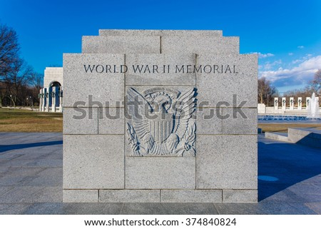 United states seal at World War II Memorial - stock photo