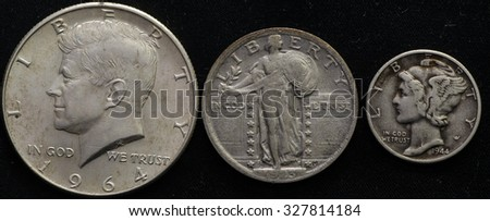 United States Silver Junk Coinage Half, quarter, and dime