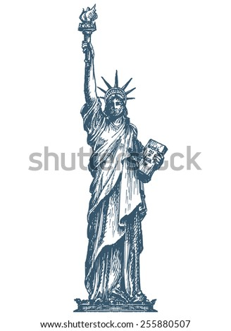 United States. Statue of liberty on a white background. sketch