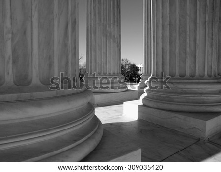 United States Supreme Court columns in black and white. - stock photo