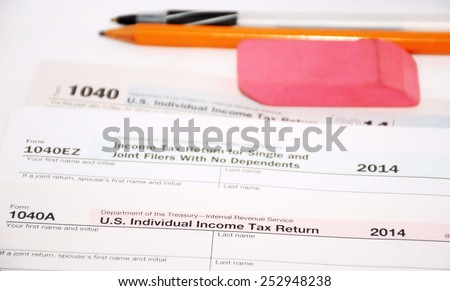 United States tax forms 2014 - stock photo