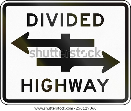 United States traffic sign: Divided Highway - stock photo