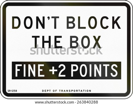 United States traffic sign: Don't block the box, fine +2 points, New York City - stock photo